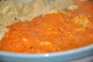 Spinach Ravioli with Tomato Vodka Sauce