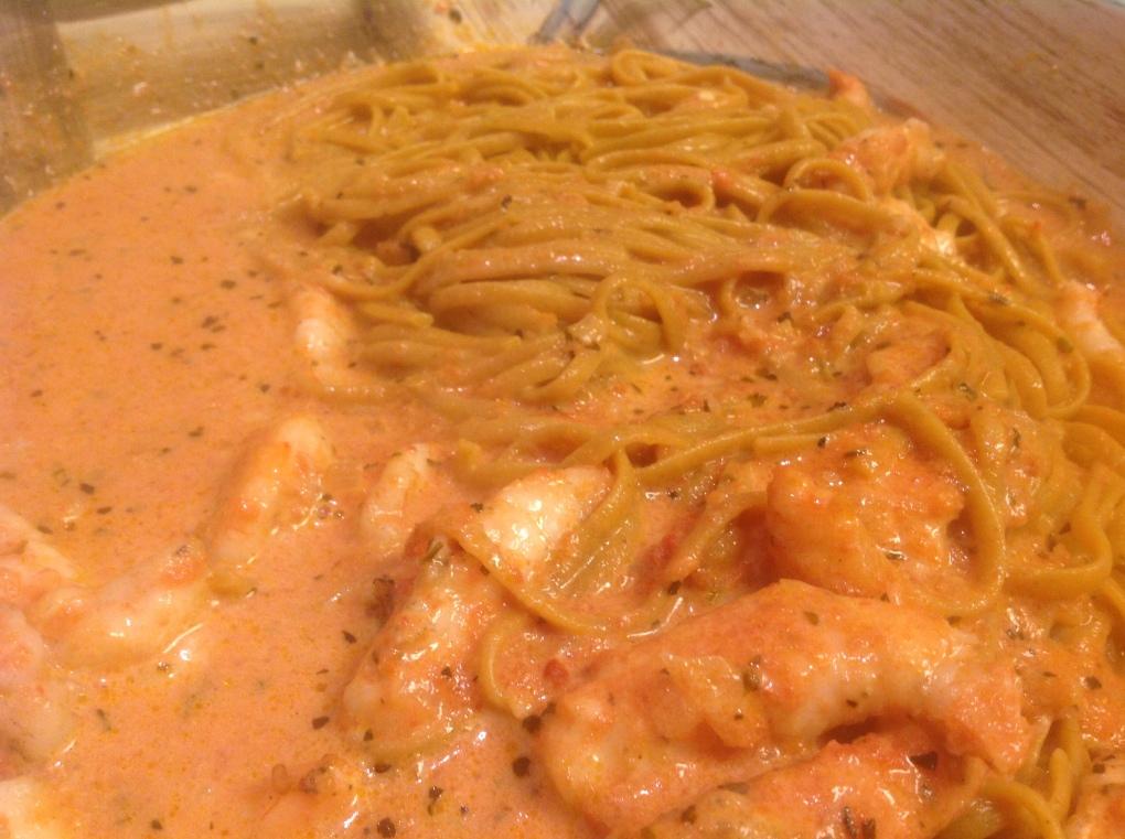 Grilled Shrimp in Tomato Vodka Sauce