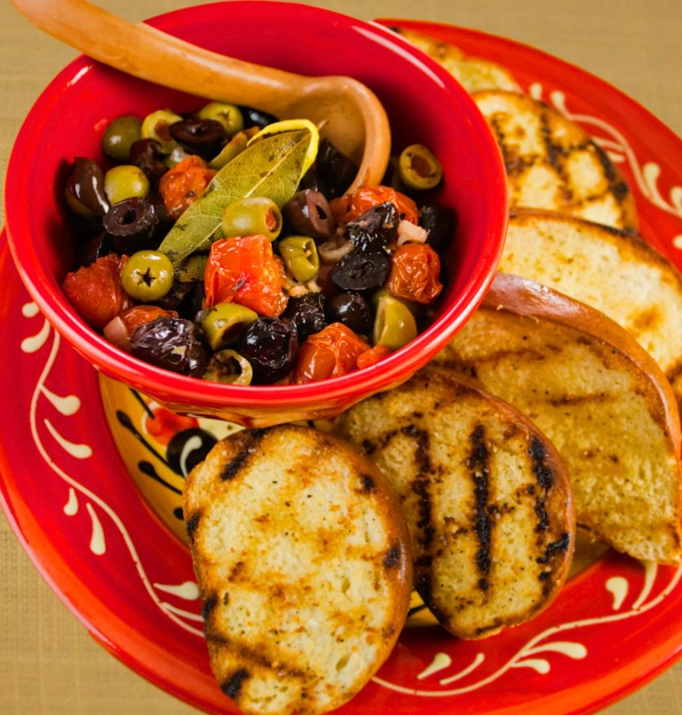Baked Olives & Grilled Bread